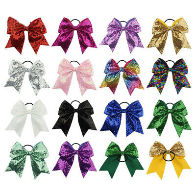 Bling Hair Bow (Girls Full Sequin Bling Cheer Hair Bow with Elastic Band Cheerleading 8 Inch )