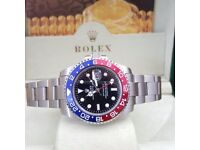 Silver Rolex Gmt Master II Pepsi Comes Rolex Bagged and Boxed with Paperwork