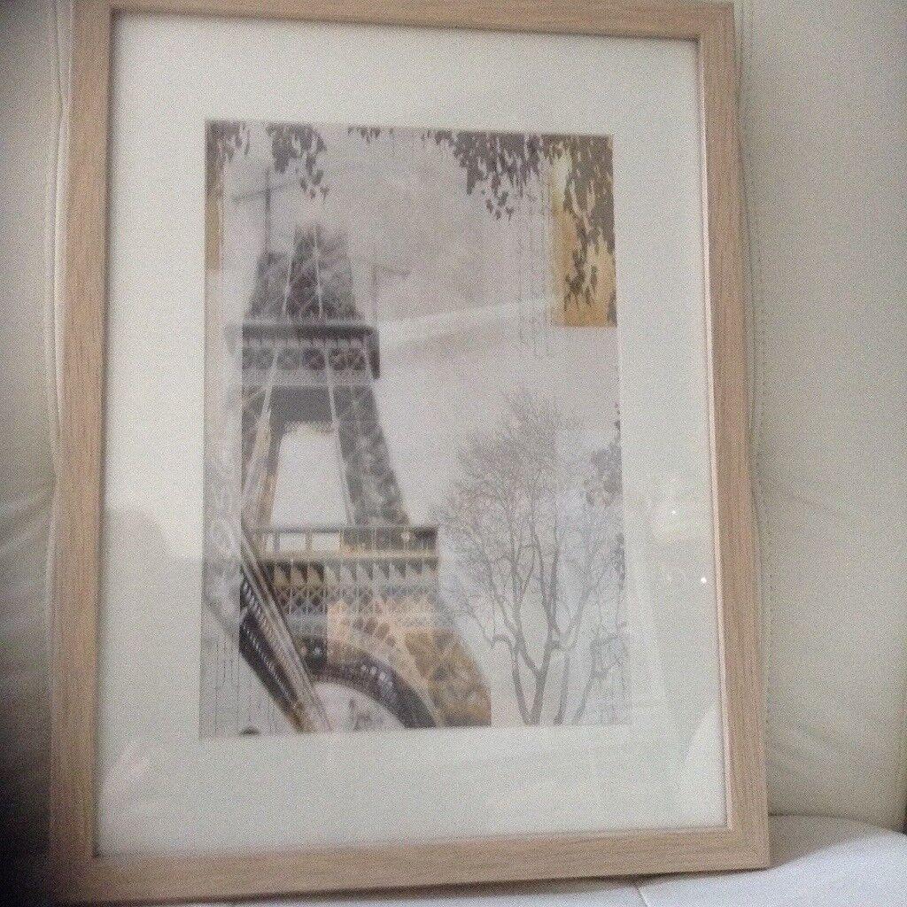 Ikea Framed Mounted Print Of Eiffel Tower Light Oak Frame Size