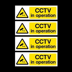 CCTV Sign, Sticker, Metal, Plastic - Pack of 4 Security, Camera, Warning