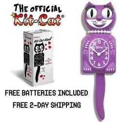 RADIANT ORCHID LADY KIT CAT CLOCK 15.5 Free Battery LIMITED EDITION! BRAND NEW!