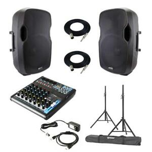 Gemini AS-15P 15 Powered Speakers + Pyle PMXU63BT Bluetooth Audio mixer Package with Stands and Cables