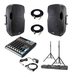 "Gemini AS-15P 15"" Powered Speakers + Pyle PMXU63BT Bluetooth Audio mixer Package with Stands and Cables"
