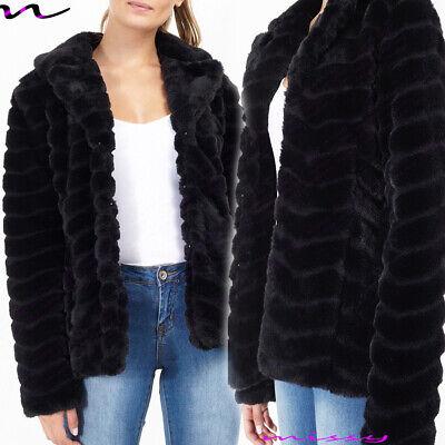 NEW Womens AVIATOR Coat Ladies Designer Faux Fur Short Chevron Jacket Size 8-16 Aviator Womens Jacket