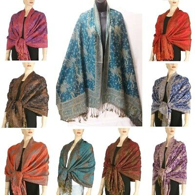 Layer Scarf - Jacquard Paisley Double Layer Pashmina Shawl Scarf Red Pink Blue Purple Brown
