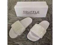 Ladies Women & Girls Designer ASOS Truffle White Fur Slider Fenty Sandals