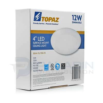 Topaz Dimmable Thin LED Surface Mount Disk Light Junction Box UL 4000K – 4""