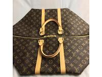 Roomy louis Vuitton 55 Lv damier logo on brown backdrop genuine designer