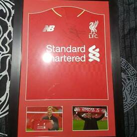 Liverpool signed framed shirt plus cap from jurgen klopp