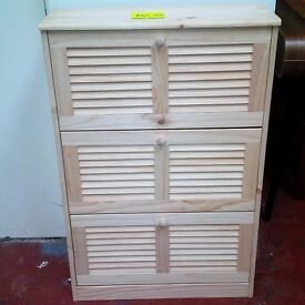 NEW Pine Shoe Storage Unit Comes in Bare Wood, Ready to Paint or Stain in The Colour of Your Choice