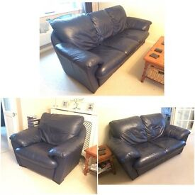Three Piece Navy Leather Suite