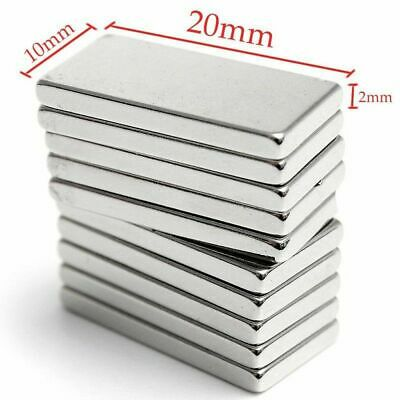 N52 1-50pcs 20x10x2mm Neodymium Block Magnet Super Strong Rare Earth Magnets Lot
