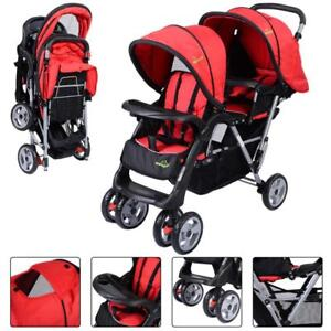 Foldable Twin Baby Double Stroller Kids Jogger Travel Infant Pushchair Red - BRAND NEW - FREE SHIPPING