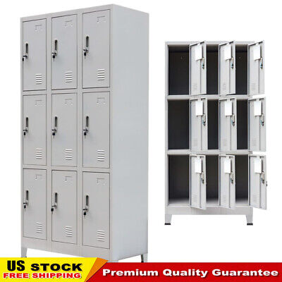 Changing Room Locker Cabinet With 9 Compartments Steel 35.4x17.7x70.9 Gray Us