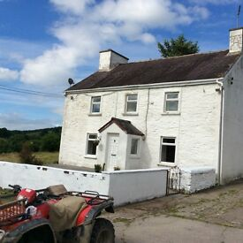 Very rural house with land 20min from Llandeilo/Lampeter