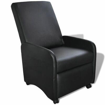 vidaXL Sillón Plegable Reclinable Madera Cuero Artificial Negro Asiento Salón