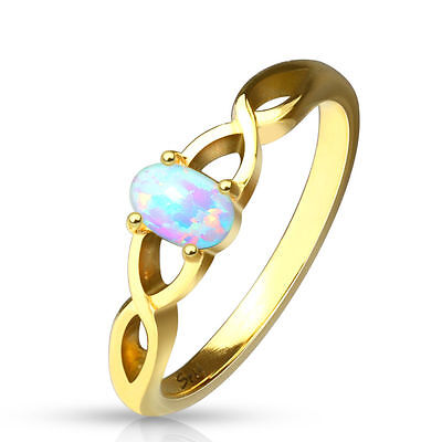 Oval Opal Set Casted Gold Ion Plated Stainless Steel Ring (FL118) (Opal Set Ring)