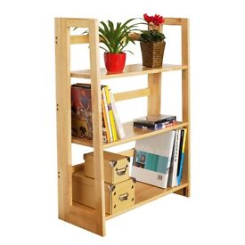 3 Shelf Folding Stackable Bookcase (Natural Wood) - Fantastic Quality
