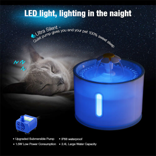 LED Automatic 2.4L Electric Pet Water Fountain Cat/Dog Drinking Dispenser USA