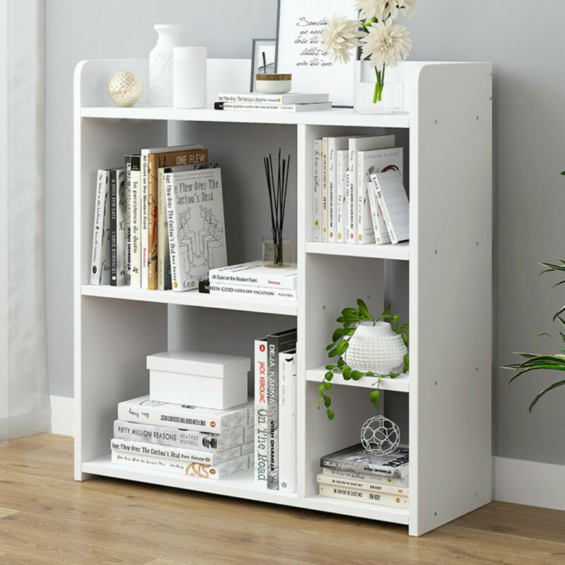 Adjustable 4-Shelf Wood Bookcase Storage Shelving Book Wide