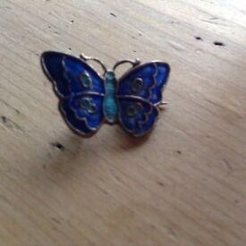 Antique enamel silver butterfly broach