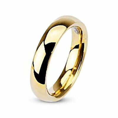 Sierra: Gold 4mm Domed Comfort Fit Stainless Steel Wedding Band Ring