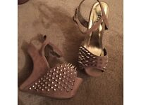 Suede studded wedges size 5