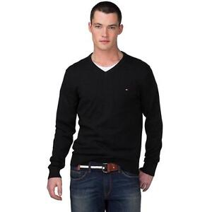 New Mens TOMMY HILFIGER Cotton V Neck Sweater LOGO - BLACK - authentic - Size M
