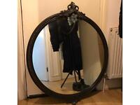 Beautiful black/brown large ornate round mirror