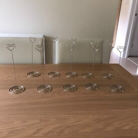 Silver heart table number holders