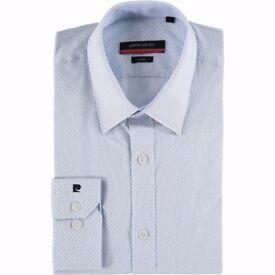 New Pierre Cardin White Blue Men's Shirt 15.5