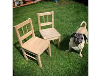 2 x cute, strong, solid wood children's chairs