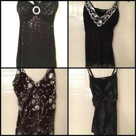 4x party tops black brown glittery Jane Norman Size 12
