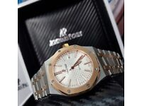Complete Package bi strap white face Rose gold ceramic bezel AP automatic sweeping