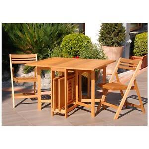 Tavolo pieghevole con 4 sedie in legno per giardino for Tavolo sedie esterno