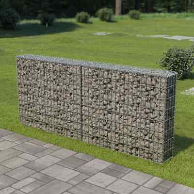 vidaXL Gabion Wall with Covers Galvanised Steel 200x20x85cm Stone Basket Cage