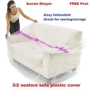 3seaters Sofa Furniture Protector Plastic Protection Cover Moving Storage Bag Ebay