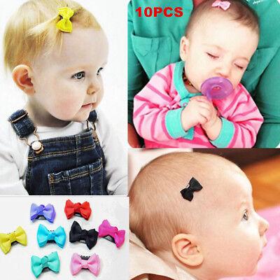 10Pcs Kids Baby Girl's Bow Ribbon Hair Bow Mini Latch Clips Hair Clip Hairpins