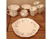 21 PIECE QUEENS FORGET ME NOT FINE BONE CHINA TEASET