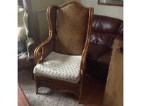 USED RATTAN AND CANE CHAIR FOR SALE,LOVELY CONDITION MAYBE NEEDS A NEW CUSHION COVER ��45.CAN DELIVER
