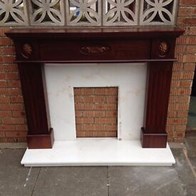 Wooden Fireplace with Marble back plate and hearth