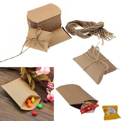 50 Kraft Brown Pillow Sweets Candy Gift Boxes Wedding Birthday Party Favor