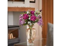 Peony Roses Wisteria & Thistle in Amber Tall Vase