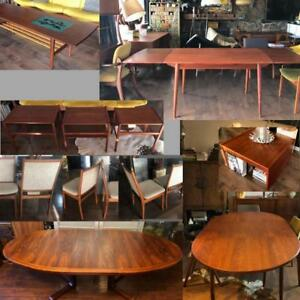 REFINISHED Danish Mid Century Modern Teak Walnut Rosewood Dining Tables from $449, coffee tables, lots chairs to match