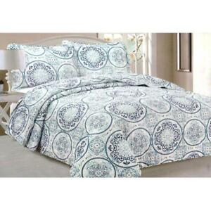 Todd Linens Queen Bedspread 3-Piece Quilt Set Soft Quilted Bedding - Microfiber Coverlet + 2 Pillow Shams (Blue Circle)