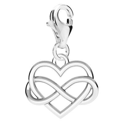 FASHIONS FOREVER® 925 Sterling Silver Infinite Love-Heart Clip-On Charm