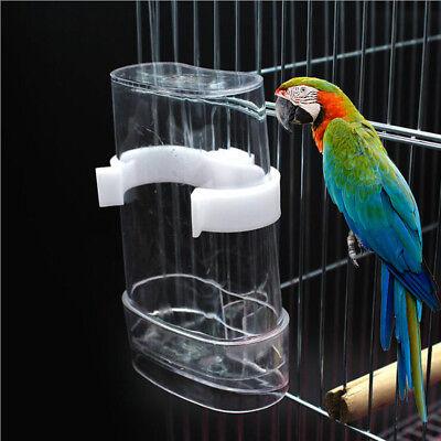 Clear Plastic Pet Bird Pigeon Parrot Finch Drinker Feeder Water Bottle
