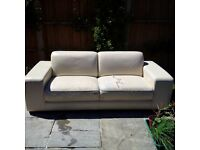 Leather 3 seater sofa (Damaged seat material)