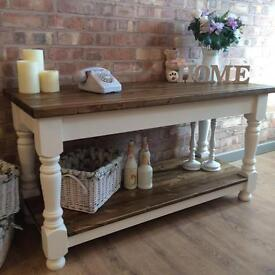 New Large Chunky Bespoke Handmade Solid Pine Farmhouse Console Table