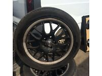 set of 4 BBS Toyota Celica 2003 Alloy wheels 5 stud 2 legal tyres 205 50 16